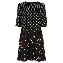 Buy Warehouse Print Smock Dress, Black Online at johnlewis.com