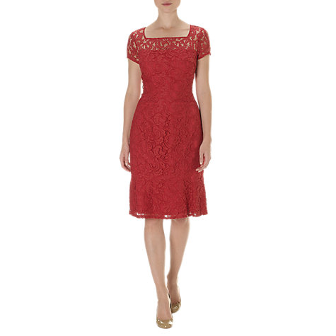 Buy Adrianna Papell Lace Fishtail Dress, Claret Online at johnlewis.com