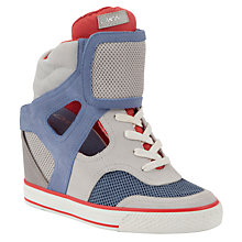 Buy DKNY Gracie Perforated Panel Wedge Heel Trainers, Grey / Blue Online at johnlewis.com