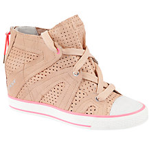 Buy DKNY Cora Perforated Wedge Trainers, Sand Online at johnlewis.com