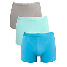 Buy Bjorn Borg Logo Trunks, Pack of 3, Blue Atoll/Light Blue/Grey Online at johnlewis.com