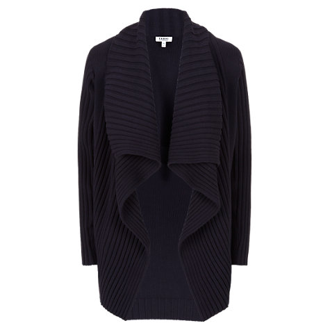 Buy Farhi by Nicole Farhi Ribbed Waterfall Cardigan, Navy Online at johnlewis.com