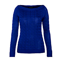 Buy Lauren by Ralph Lauren Slim Cable Knit Jumper, Cobalt Online at johnlewis.com