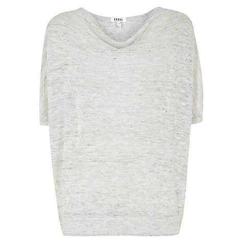 Buy Farhi by Nicole Farhi Melange Linen Cowl Neck Top, Grey Online at johnlewis.com