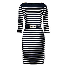 Buy Lauren by Ralph Lauren Gracen Dress, Capri Navy/White Online at johnlewis.com