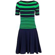 Buy Lauren by Ralph Lauren Striped Cotton Boatneck Dress, Capri Navy/Ribbon Green Online at johnlewis.com