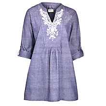 Buy People Tree Susanna Embroidered Tunic Top, Blue Online at johnlewis.com