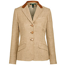 Buy Lauren by Ralph Lauren Leather-Trim Linen Tweed Jacket, Tan Online at johnlewis.com