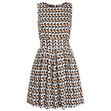 Buy People Tree Mae Cat Print Flared Dress, Black Online at johnlewis.com