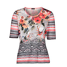Buy Gerry Weber Stripe & Multi Print T-Shirt, Grey Online at johnlewis.com