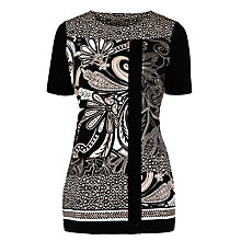 Buy Gerry Weber Contrasting Print T-Shirt, Black Online at johnlewis.com