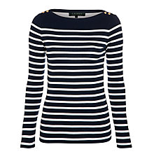 Buy Lauren by Ralph Lauren Amergio Top, Capri Navy/White Online at johnlewis.com