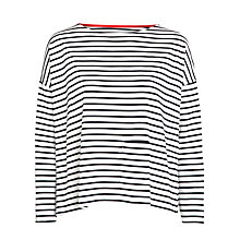 Buy People Tree Libby Stripe Breton Top, Navy Online at johnlewis.com