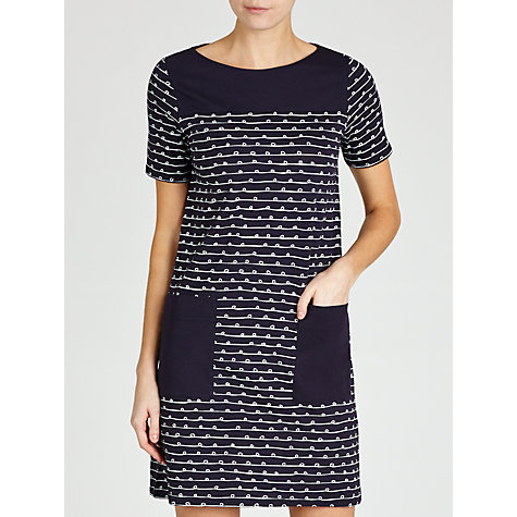 Buy People Tree Faye Ribbon Print Dress, Navy Online at johnlewis.com