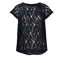 Buy Avoca Anthology Lace Split Back Top, Navy Online at johnlewis.com