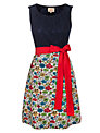 Avoca Anthology Sleeveless Contrast Lace Top Dress, Red/Blue
