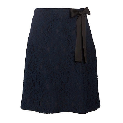 Buy Avoca Anthology Lace Knee Length Skirt, Navy Online at johnlewis.com