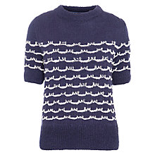 Buy People Tree Melissa Scallop Short Sleeved Jumper, Navy Online at johnlewis.com