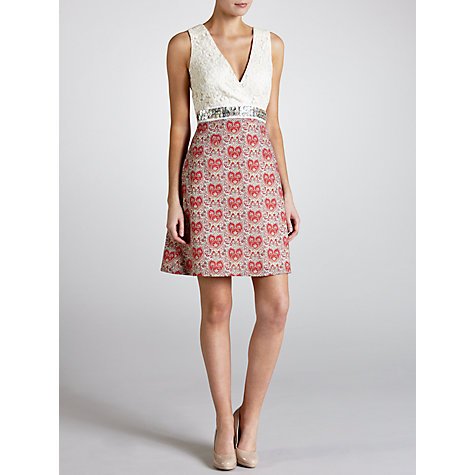 Buy Avoca Anthology Printed Faux Wrap Dress, Red/Cream Online at johnlewis.com
