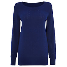 Buy Oasis Pointelle Mixed Stitch Top, Rich Blue Online at johnlewis.com