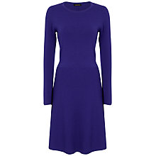 Buy Jaeger Flare Hem Knit Dress, Purple Online at johnlewis.com