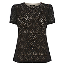 Buy Oasis Lace Grosgrain Top, Black Online at johnlewis.com