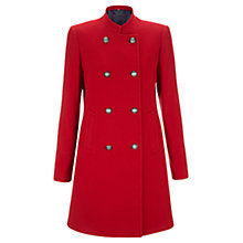 Buy Jigsaw Melton Double Breasted Coat, Red Online at johnlewis.com