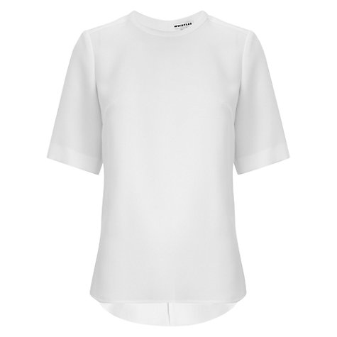 Buy Whistles Crepe Stepped Hem Top, Ivory Online at johnlewis.com