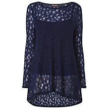 Buy Phase Eight Plain Pointelle Joplin Top, Navy Online at johnlewis.com