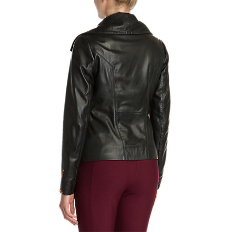 Buy Ted Baker Fold Over Collar Leather Jacket, Black Online at johnlewis.com
