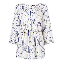 Buy Phase Eight Molly Floral Print Blouse, Denim/White Online at johnlewis.com
