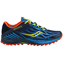 Buy Saucony Men's Peregrine 4 Trail Running Shoes, Blue/Red/Citron Online at johnlewis.com