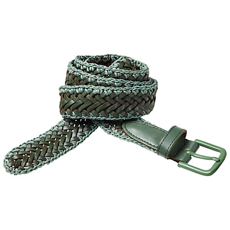 Buy Scotch & Soda Braided Tonal Leather Belt, Green Online at johnlewis.com