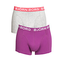 Buy Bjorn Borg Plain Trunks, Pack of 2, Grey/Purple Online at johnlewis.com