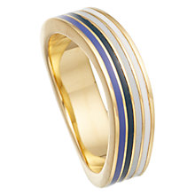 Buy Astley Clarke Colour 18ct Gold Vermeil Enamel Wave Thin Ring, Midnight Blue Online at johnlewis.com