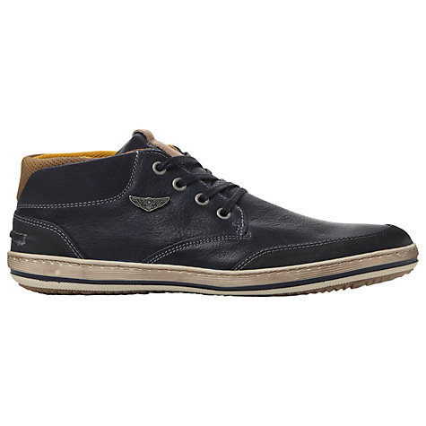 Buy Dune Submarine Leather Hi Top Trainers, Navy Online at johnlewis.com