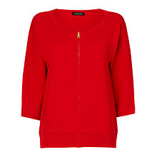 Buy Jaeger Zip Front Cardigan, Red Online at johnlewis.com