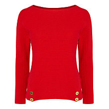 Buy Jaeger Rib Button Sweater, Red Online at johnlewis.com