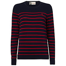 Buy Boutique by Jaeger Anchor Breton Jumper, Navy / Red Online at johnlewis.com