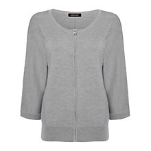 Buy Jaeger Melange Zip Front Cardigan, Grey Online at johnlewis.com