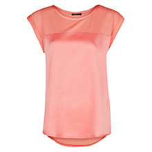 Buy Mango Satin Panel T-shirt, Light Pastel Red Online at johnlewis.com