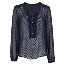 Buy Mango Silk Cotton Plumeti Blouse, Navy Online at johnlewis.com
