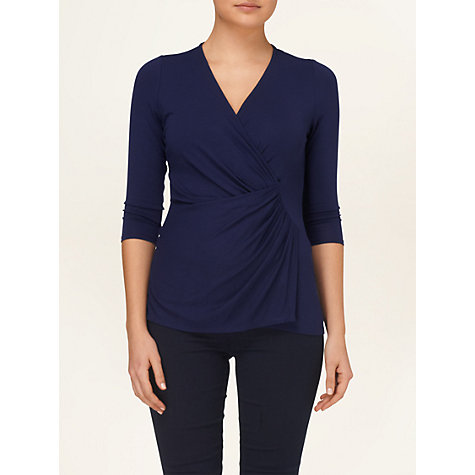 Buy Phase Eight Polly Plain Wrap Top, Navy Online at johnlewis.com