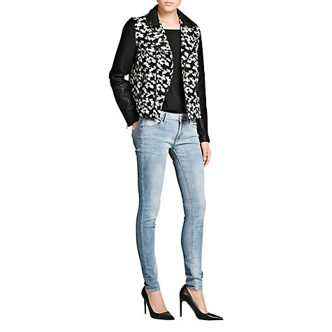 Buy Mango Bouclé Biker Jacket, Black Online at johnlewis.com