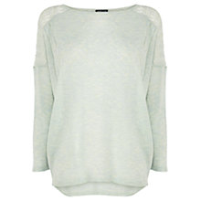 Buy Warehouse Pointelle Yoke Mid Sleeve Jumper, Light Green Online at johnlewis.com