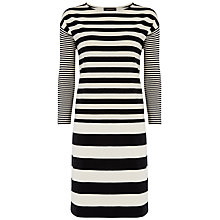 Buy Jaeger Striped Jersey Dress, Black / Ivory Online at johnlewis.com