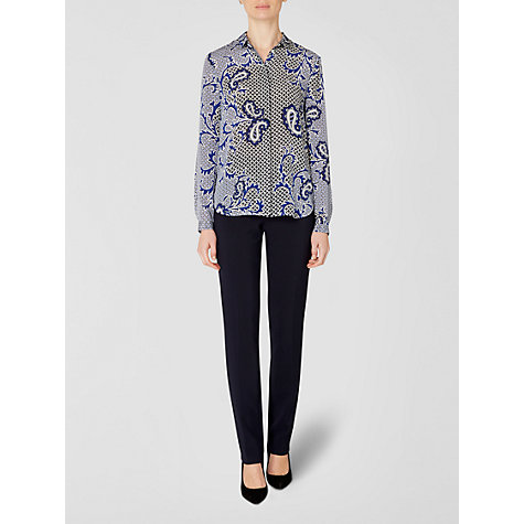 Buy Jaeger Paisley Blouse, White / Blue Online at johnlewis.com