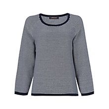 Buy Jaeger Ottoman Striped Jumper, Ivory / Navy Online at johnlewis.com