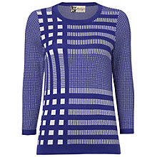 Buy Boutique by Jaeger Gingham Knitted Top, Electric Purple Online at johnlewis.com