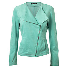 Buy Betty Barclay Faux Suede Biker Jacket, Blue Online at johnlewis.com